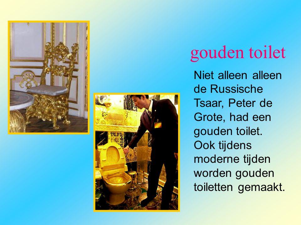 gouden toilet Niet alleen alleen de Russische Tsaar, Peter de Grote, had een gouden toilet. Ook tijdens moderne tijden worden gouden toiletten gemaakt