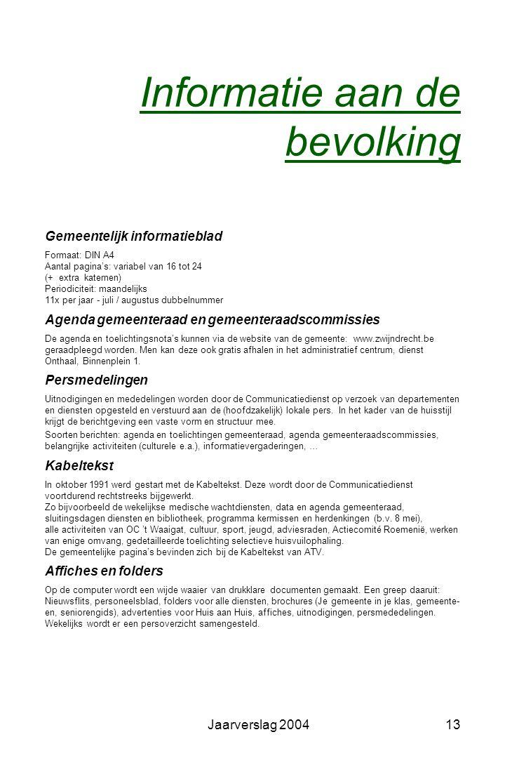 Jaarverslag 200412 Advies- en overlegorganen Adviesorganen •Adviesraad voor Zelfstandigen en Vrije Beroepen •Cultuurraad •Bibliotheekraad •Derde-Werel