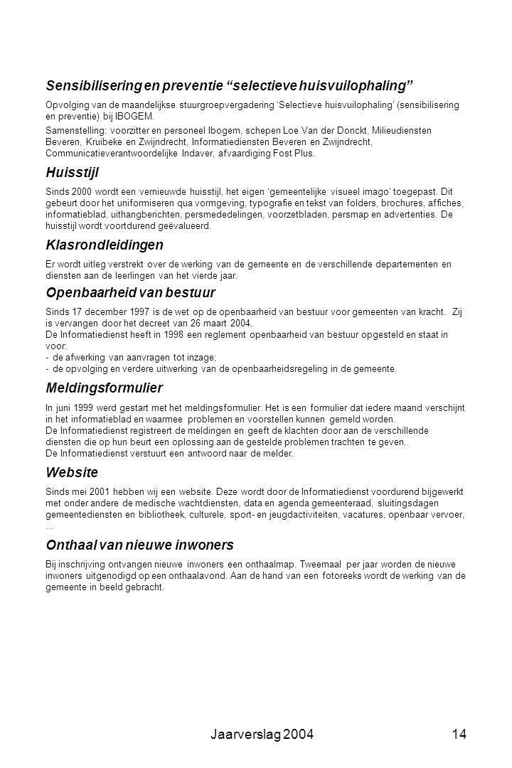 Jaarverslag 200413 Informatie aan de bevolking Gemeentelijk informatieblad Formaat: DIN A4 Aantal pagina's: variabel van 16 tot 24 (+ extra katernen)