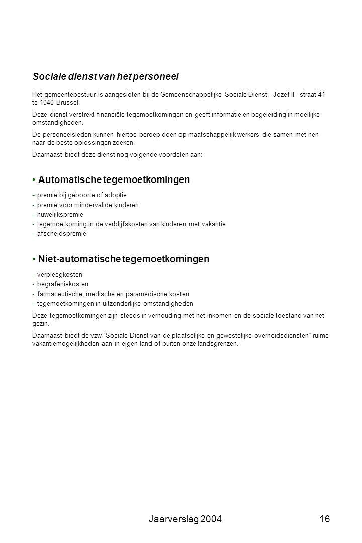 Jaarverslag 200415 Gemeentepersoneel •Administratief Personeelskader: 48 Effectieve bezetting: 45 waarvan 1 startbaner •Technisch Personeelskader: 13