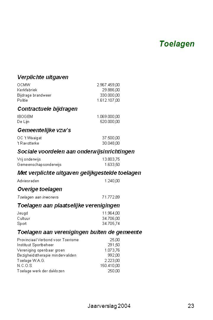 Jaarverslag 200422 Uitgaven, functionele analyse, toelagen