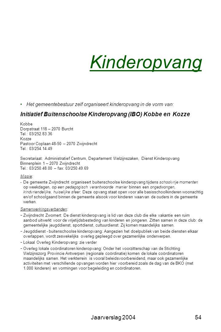 Jaarverslag 200453 Jeugdhuizen en jeugdclubs Jeugdclub B.AR.ST Lokaal: Visserstraat z/n – 2070 Burcht Toelage: 1.100,25 EUR, verbruikt van de 2.480,00