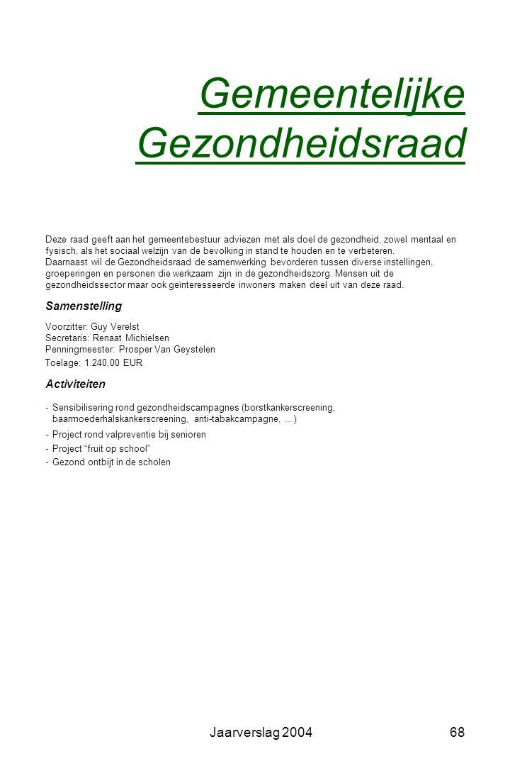 Jaarverslag 200467 Derde-Wereldraad Voorzitter Stanny Geerts Werking -Voorbereiding en organisatie 11.11.11.-actie -Sensibilisering -Steun aan derdewe