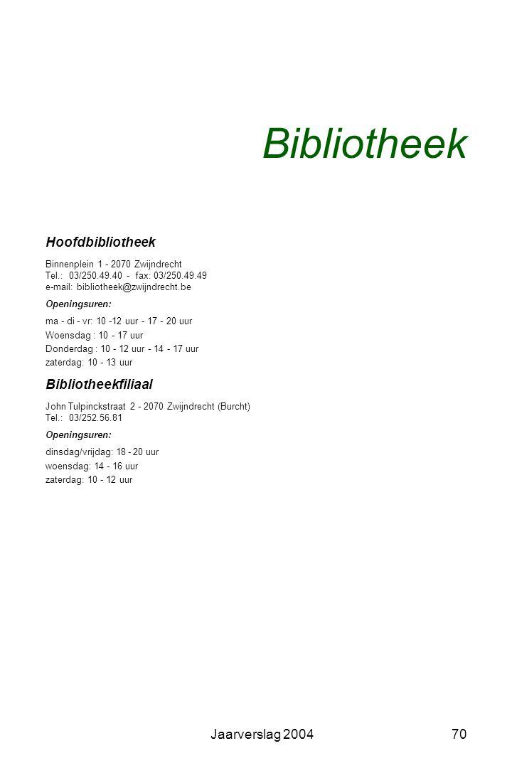 Jaarverslag 200469 Gemeentelijke Bibliotheekraad Samenstelling Hedwig Van de Velde, voorzitter Adelina Aerts, ondervoorzitter Bibliothecaris, secretar