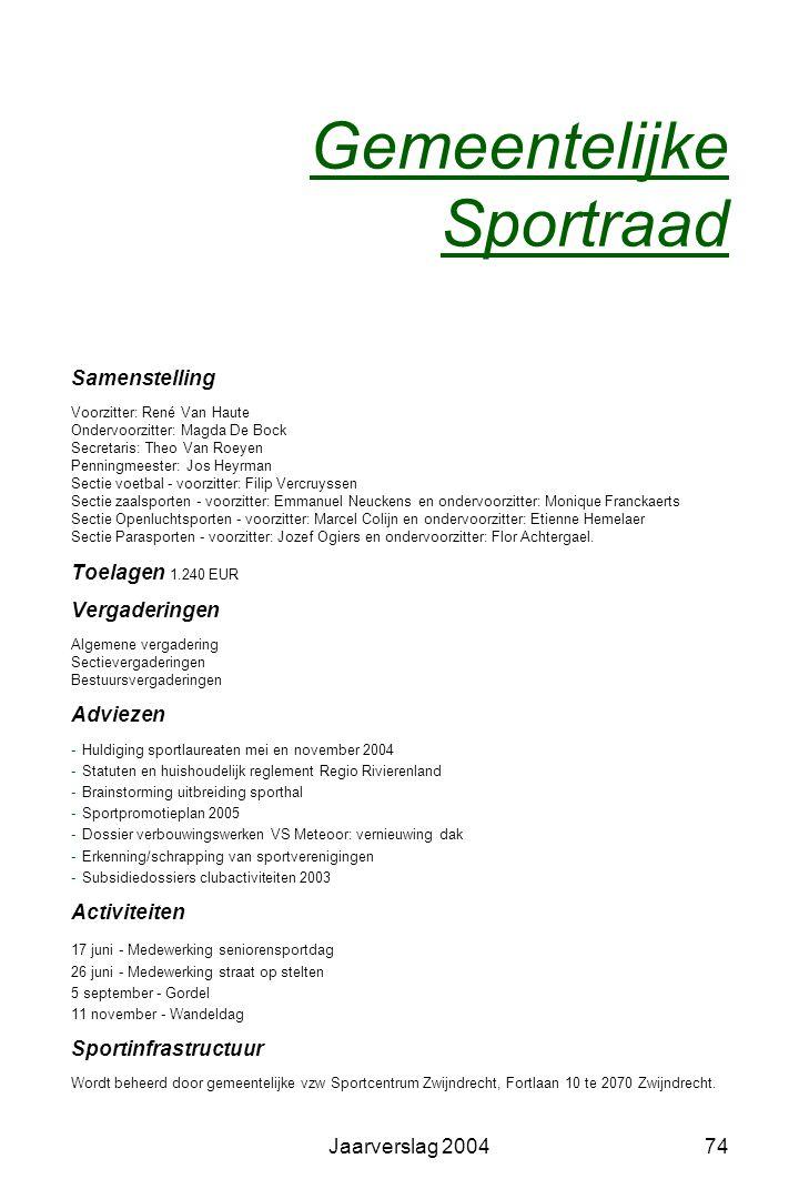 Jaarverslag 200473 Sportcentrum Zwijndrecht vzw Voorzitter: W. De Wulf Ondervoorzitters: K. Herremans - R. Van Haute Fortlaan 10 - 2070 Zwijndrecht te