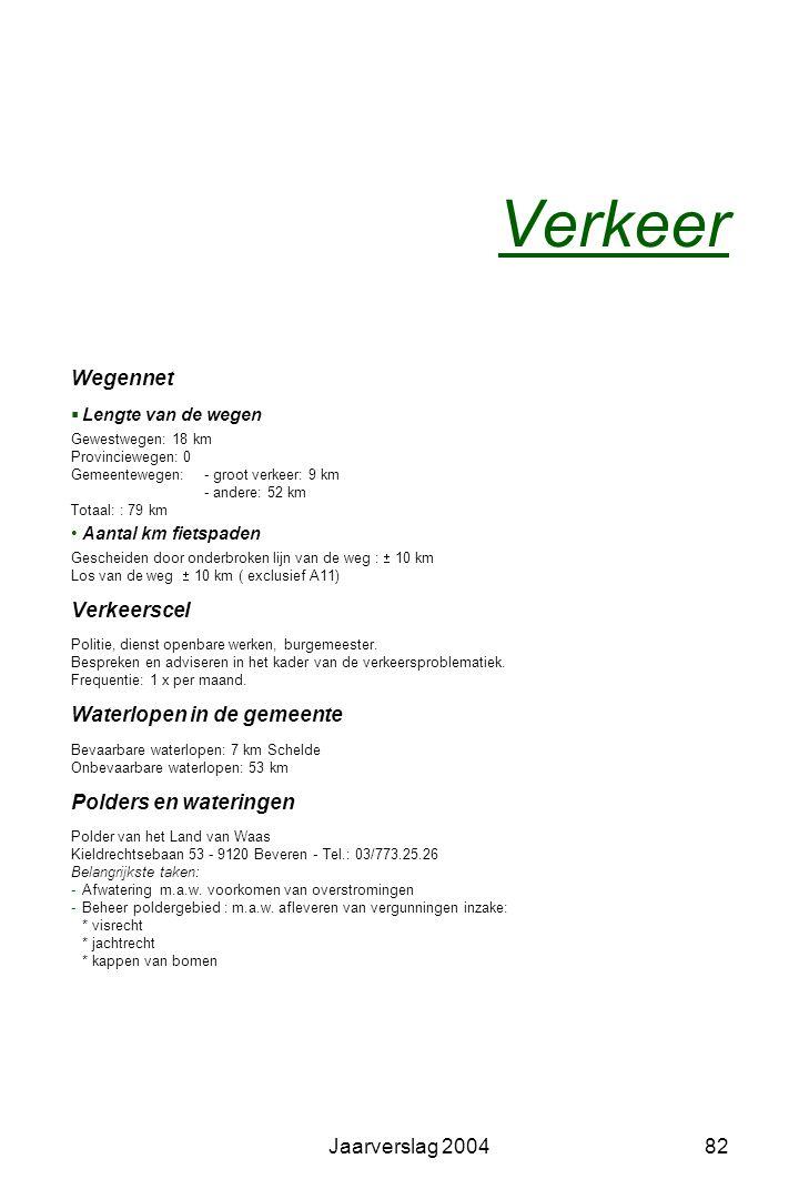 Jaarverslag 200481 Tienerhonken (speciale zitbanken speciaal voor jongeren) -Neerbroek -Veldstraat Wandel- en fietsroutes -Vlietbospad: 6 km -Halfmaan
