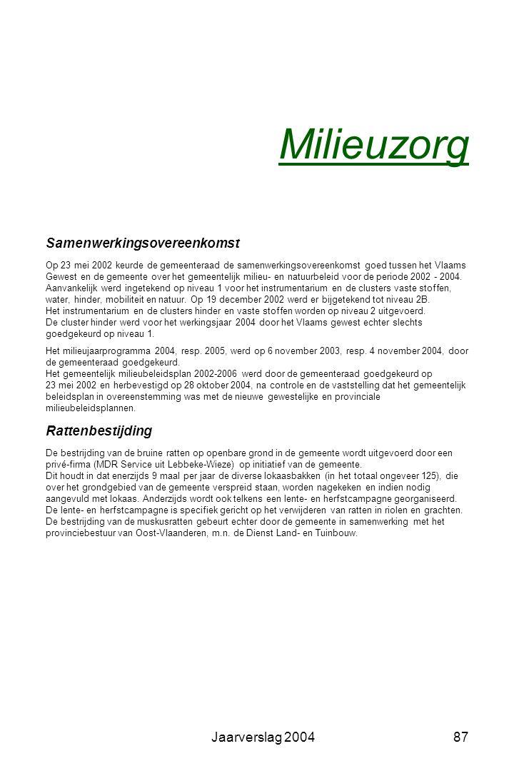 Jaarverslag 200486 Gemeentelijke Milieuraad Voorzitter: Hilde Heyrman Penningmeester: Günther Hiel De Milieuraad is een gemeentelijke adviesraad voor