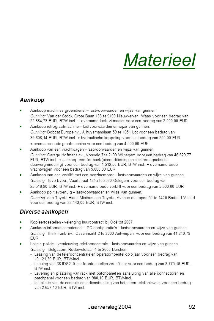 Jaarverslag 200491 PMD – Plastiek, Metaal en Drankkartons Selectieve huis-aan-huisophaling: Ophaler: SITA nv - Burcht Frequentie: 2 x per maand Verwer