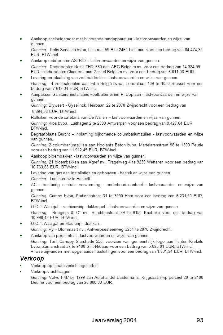 Jaarverslag 200492 Materieel Aankoop  Aankoop machines groendienst – lastvoorwaarden en wijze van gunnen. Gunning: Van der Stock, Grote Baan 138 te 9