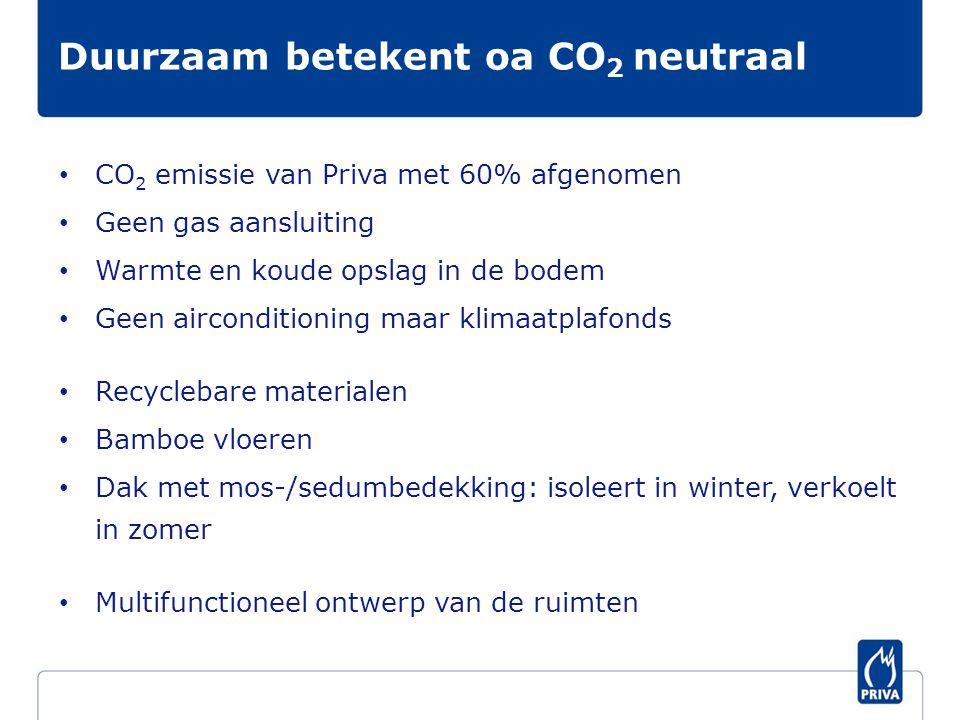 • CO 2 emissie van Priva met 60% afgenomen • Geen gas aansluiting • Warmte en koude opslag in de bodem • Geen airconditioning maar klimaatplafonds • Recyclebare materialen • Bamboe vloeren • Dak met mos-/sedumbedekking: isoleert in winter, verkoelt in zomer • Multifunctioneel ontwerp van de ruimten Duurzaam betekent oa CO 2 neutraal
