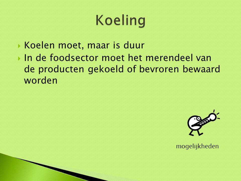  Koelen moet, maar is duur  In de foodsector moet het merendeel van de producten gekoeld of bevroren bewaard worden mogelijkheden