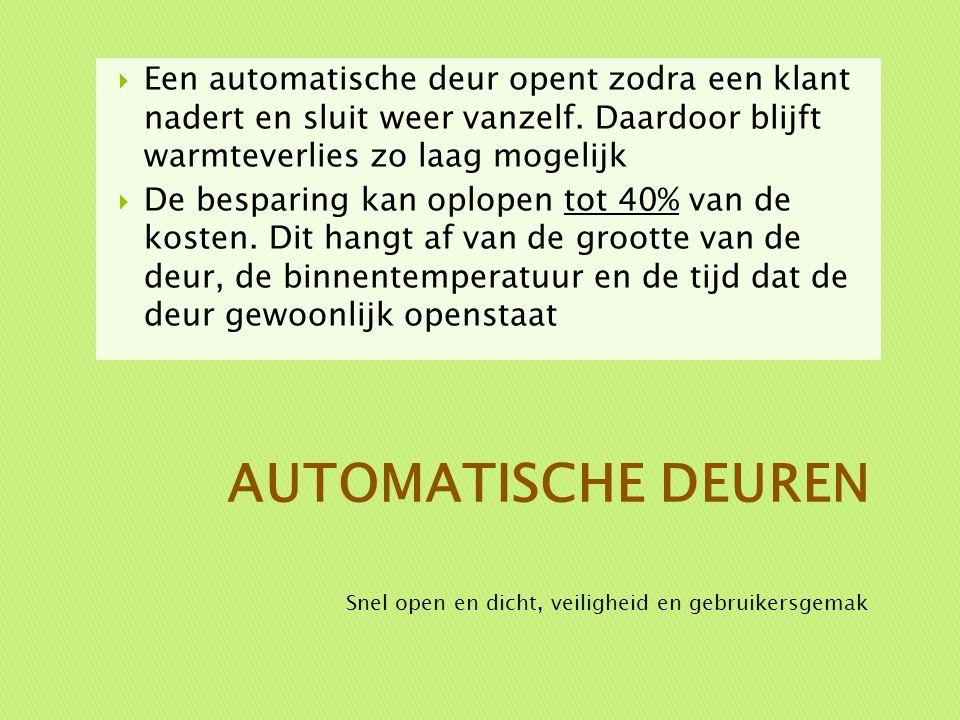  Een automatische deur opent zodra een klant nadert en sluit weer vanzelf. Daardoor blijft warmteverlies zo laag mogelijk  De besparing kan oplopen