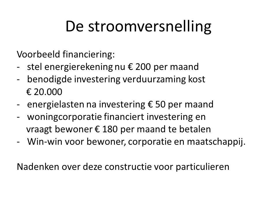 De stroomversnelling Voorbeeld financiering: -stel energierekening nu € 200 per maand -benodigde investering verduurzaming kost € 20.000 -energielaste