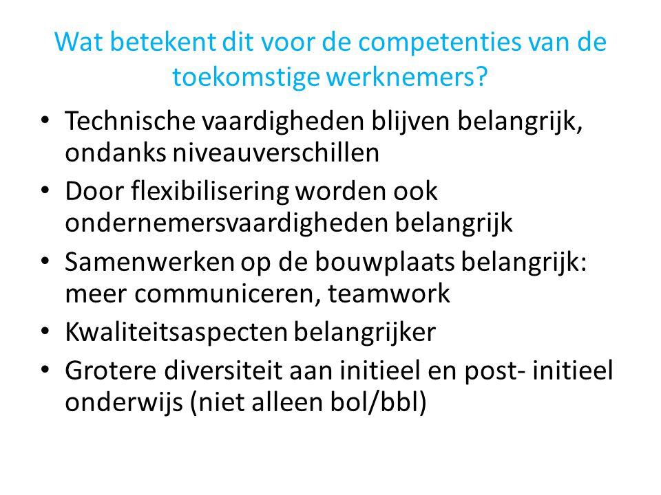 Wat betekent dit voor de competenties van de toekomstige werknemers? • Technische vaardigheden blijven belangrijk, ondanks niveauverschillen • Door fl
