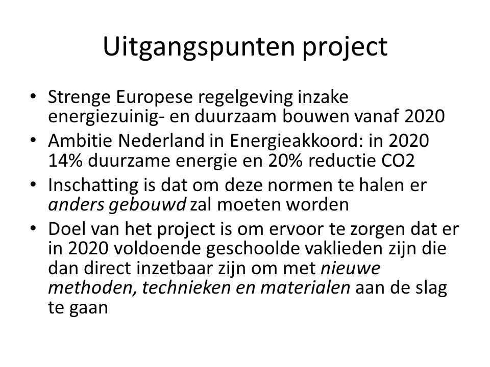 Uitgangspunten project • Strenge Europese regelgeving inzake energiezuinig- en duurzaam bouwen vanaf 2020 • Ambitie Nederland in Energieakkoord: in 20