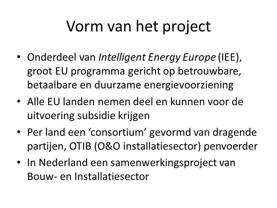 Vorm van het project • Onderdeel van Intelligent Energy Europe (IEE), groot EU programma gericht op betrouwbare, betaalbare en duurzame energievoorzie
