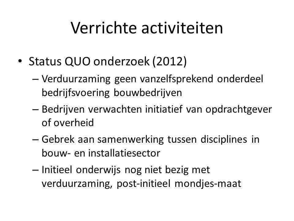 Verrichte activiteiten • Status QUO onderzoek (2012) – Verduurzaming geen vanzelfsprekend onderdeel bedrijfsvoering bouwbedrijven – Bedrijven verwacht