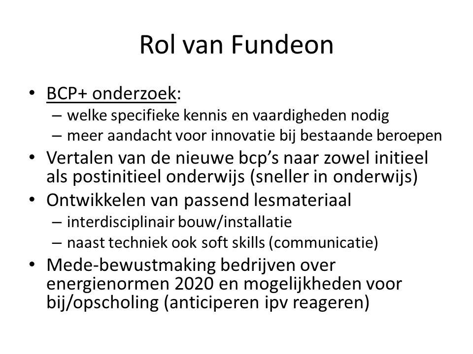 Rol van Fundeon • BCP+ onderzoek: – welke specifieke kennis en vaardigheden nodig – meer aandacht voor innovatie bij bestaande beroepen • Vertalen van