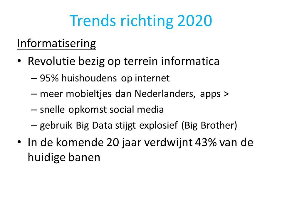 Trends richting 2020 Informatisering • Revolutie bezig op terrein informatica – 95% huishoudens op internet – meer mobieltjes dan Nederlanders, apps >