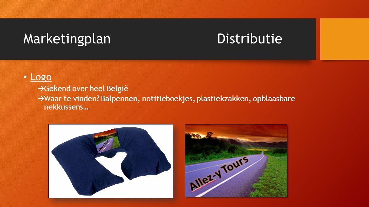MarketingplanDistributie • Logo  Gekend over heel België  Waar te vinden? Balpennen, notitieboekjes, plastiekzakken, opblaasbare nekkussens…