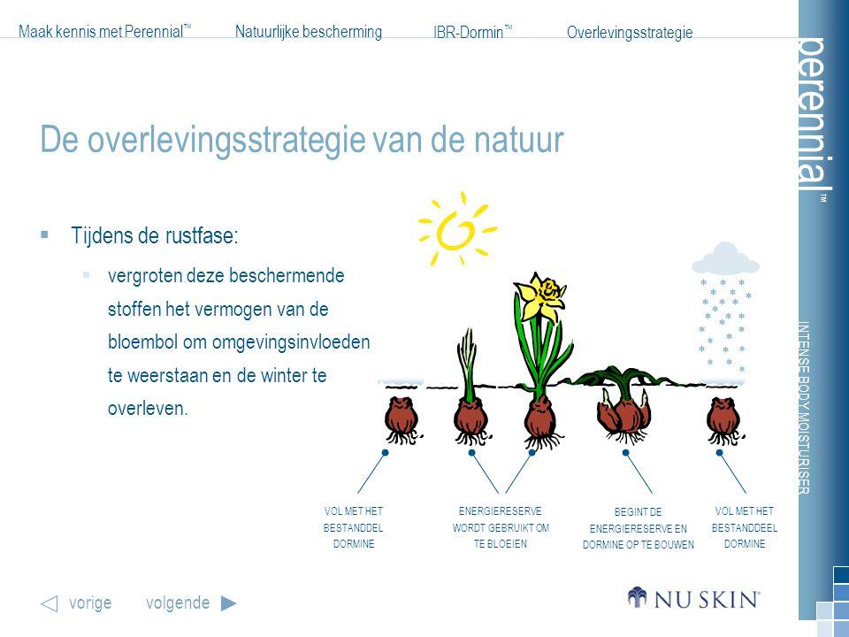 INTENSE BODY MOISTURISER Maak kennis met Perennial ™ Natuurlijke bescherming IBR-Dormin ™ vorigevolgende Overlevingsstrategie perennial ™ De overlevin