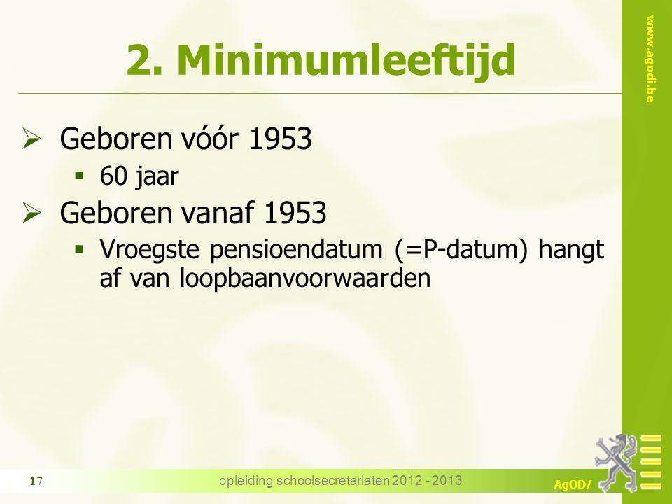 www.agodi.be AgODi 2. Minimumleeftijd  Geboren vóór 1953  60 jaar  Geboren vanaf 1953  Vroegste pensioendatum (=P-datum) hangt af van loopbaanvoor