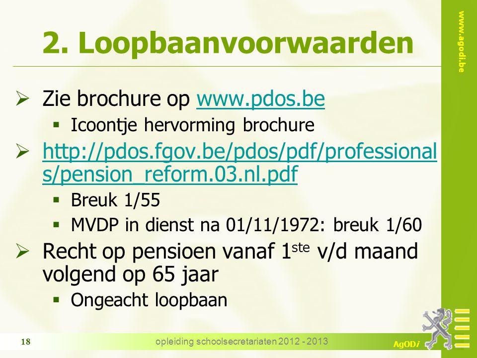 www.agodi.be AgODi 2. Loopbaanvoorwaarden  Zie brochure op www.pdos.bewww.pdos.be  Icoontje hervorming brochure  http://pdos.fgov.be/pdos/pdf/profe
