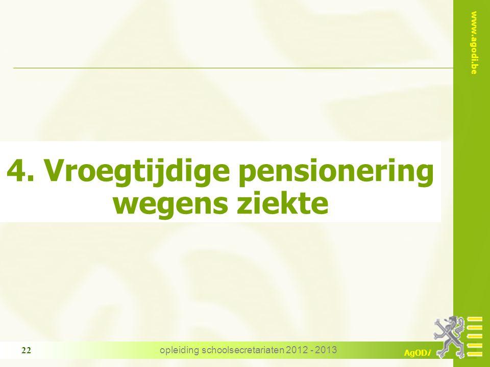 www.agodi.be AgODi opleiding schoolsecretariaten 2012 - 2013 22 4. Vroegtijdige pensionering wegens ziekte