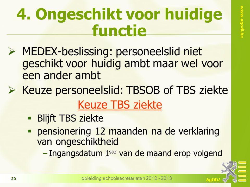 www.agodi.be AgODi opleiding schoolsecretariaten 2012 - 2013 26 4. Ongeschikt voor huidige functie  MEDEX-beslissing: personeelslid niet geschikt voo