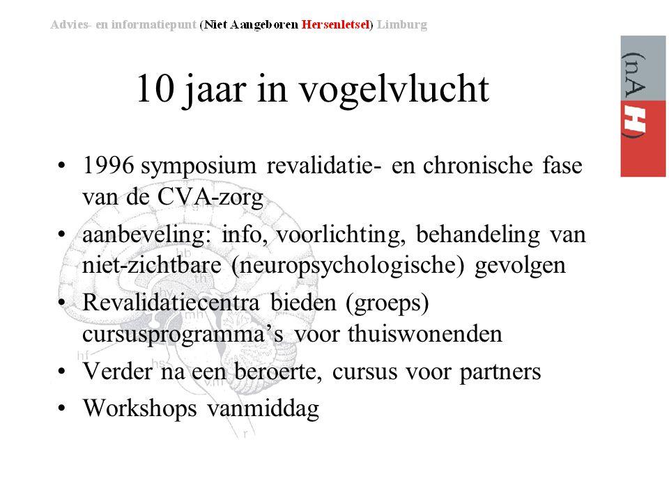 10 jaar in vogelvlucht •1996 symposium revalidatie- en chronische fase van de CVA-zorg •aanbeveling: info, voorlichting, behandeling van niet-zichtbare (neuropsychologische) gevolgen •Revalidatiecentra bieden (groeps) cursusprogramma's voor thuiswonenden •Verder na een beroerte, cursus voor partners •Workshops vanmiddag