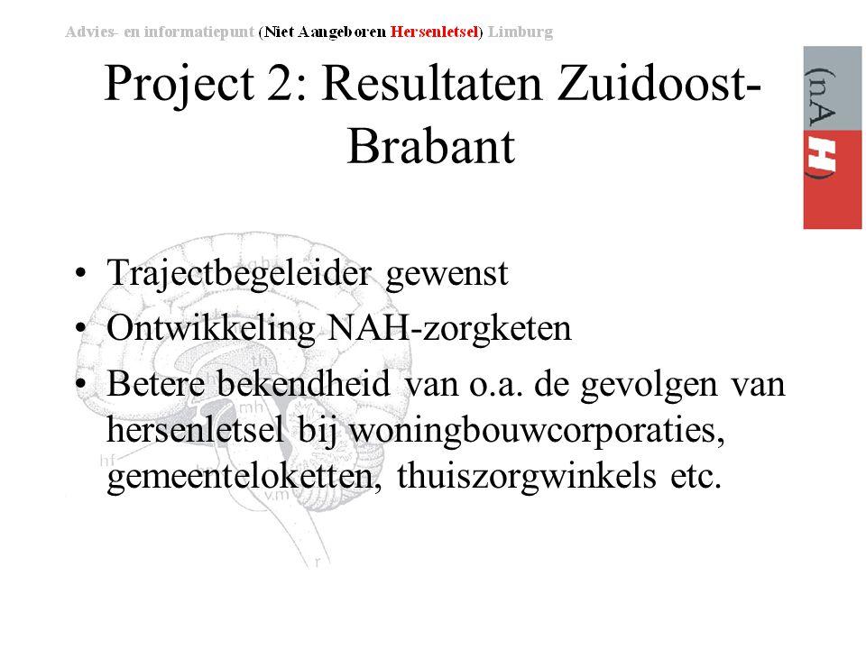 Project 2: Resultaten Zuidoost- Brabant •Trajectbegeleider gewenst •Ontwikkeling NAH-zorgketen •Betere bekendheid van o.a.