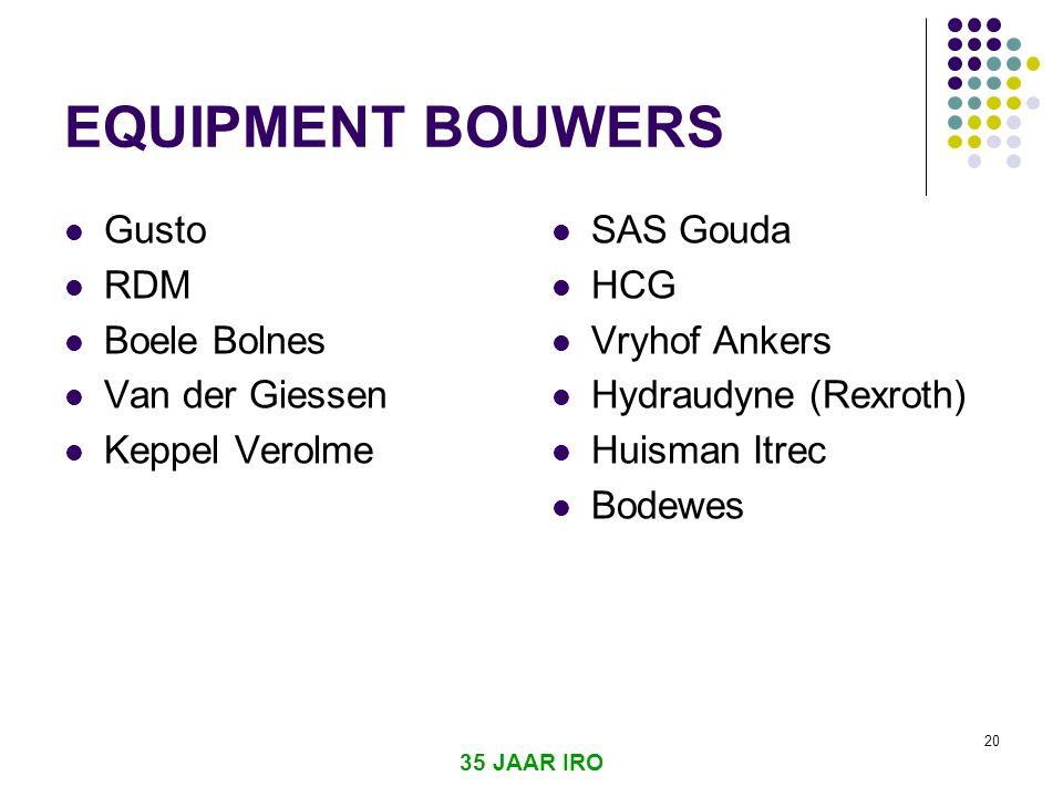 35 JAAR IRO 20 EQUIPMENT BOUWERS  Gusto  RDM  Boele Bolnes  Van der Giessen  Keppel Verolme  SAS Gouda  HCG  Vryhof Ankers  Hydraudyne (Rexroth)  Huisman Itrec  Bodewes