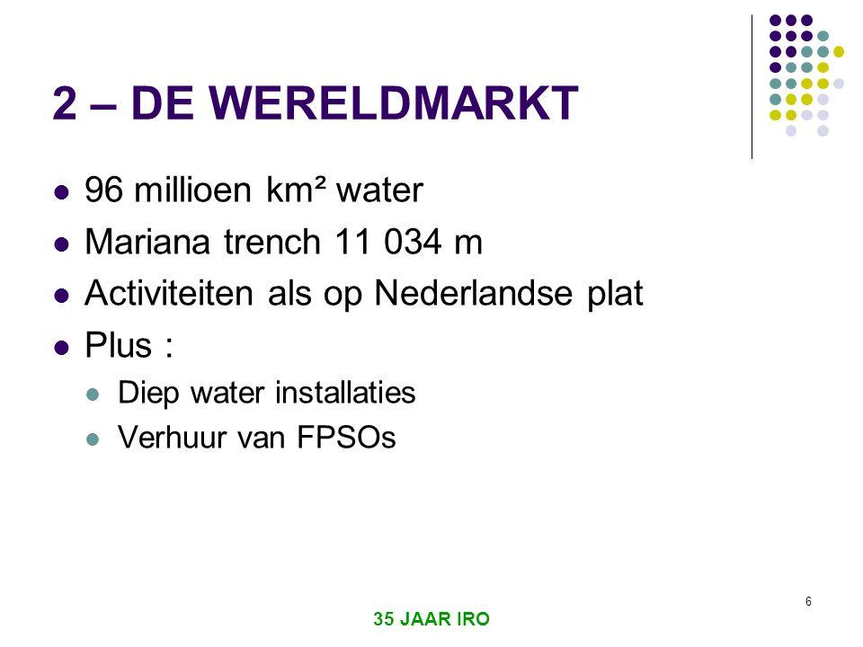 35 JAAR IRO 6 2 – DE WERELDMARKT  96 millioen km² water  Mariana trench 11 034 m  Activiteiten als op Nederlandse plat  Plus :  Diep water installaties  Verhuur van FPSOs