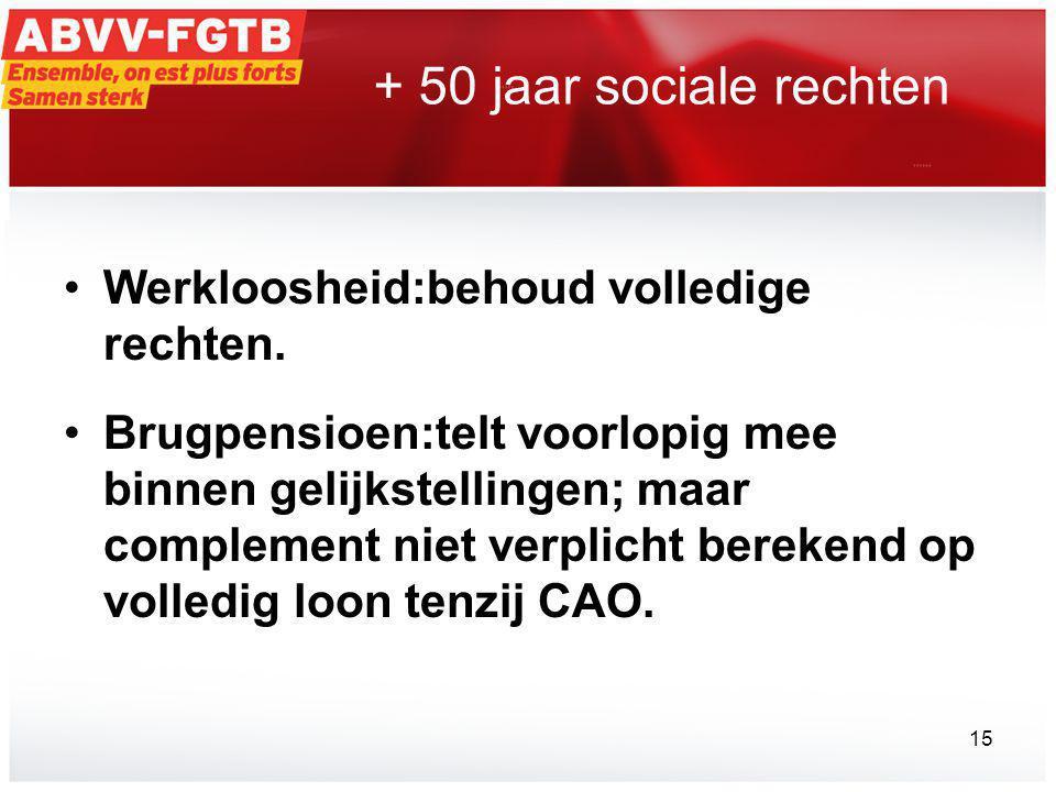 + 50 jaar sociale rechten •Werkloosheid:behoud volledige rechten.