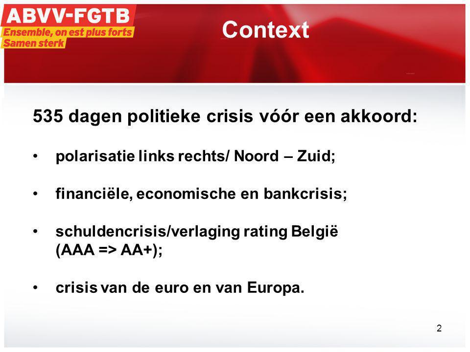 Context 535 dagen politieke crisis vóór een akkoord: •polarisatie links rechts/ Noord – Zuid; •financiële, economische en bankcrisis; •schuldencrisis/verlaging rating België (AAA => AA+); •crisis van de euro en van Europa.