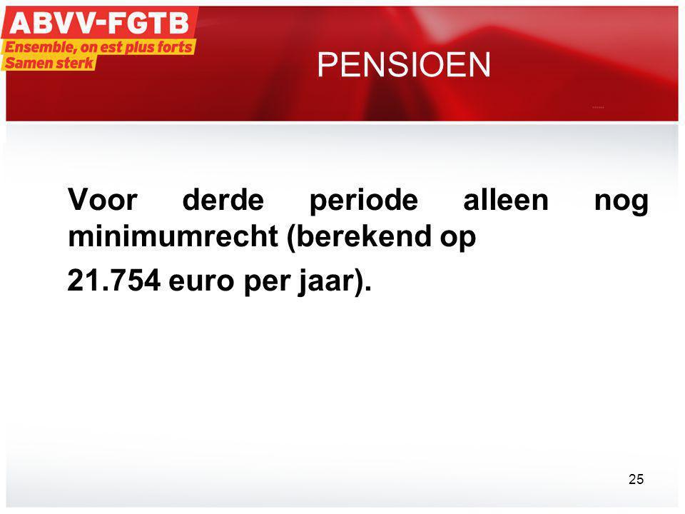 PENSIOEN Voor derde periode alleen nog minimumrecht (berekend op 21.754 euro per jaar). 25