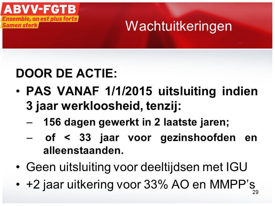 Wachtuitkeringen DOOR DE ACTIE: •PAS VANAF 1/1/2015 uitsluiting indien 3 jaar werkloosheid, tenzij: – 156 dagen gewerkt in 2 laatste jaren; –of < 33 jaar voor gezinshoofden en alleenstaanden.