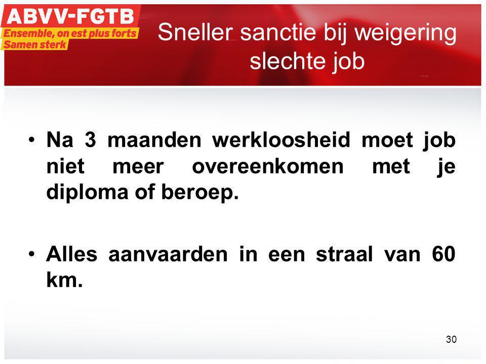 Sneller sanctie bij weigering slechte job •Na 3 maanden werkloosheid moet job niet meer overeenkomen met je diploma of beroep.