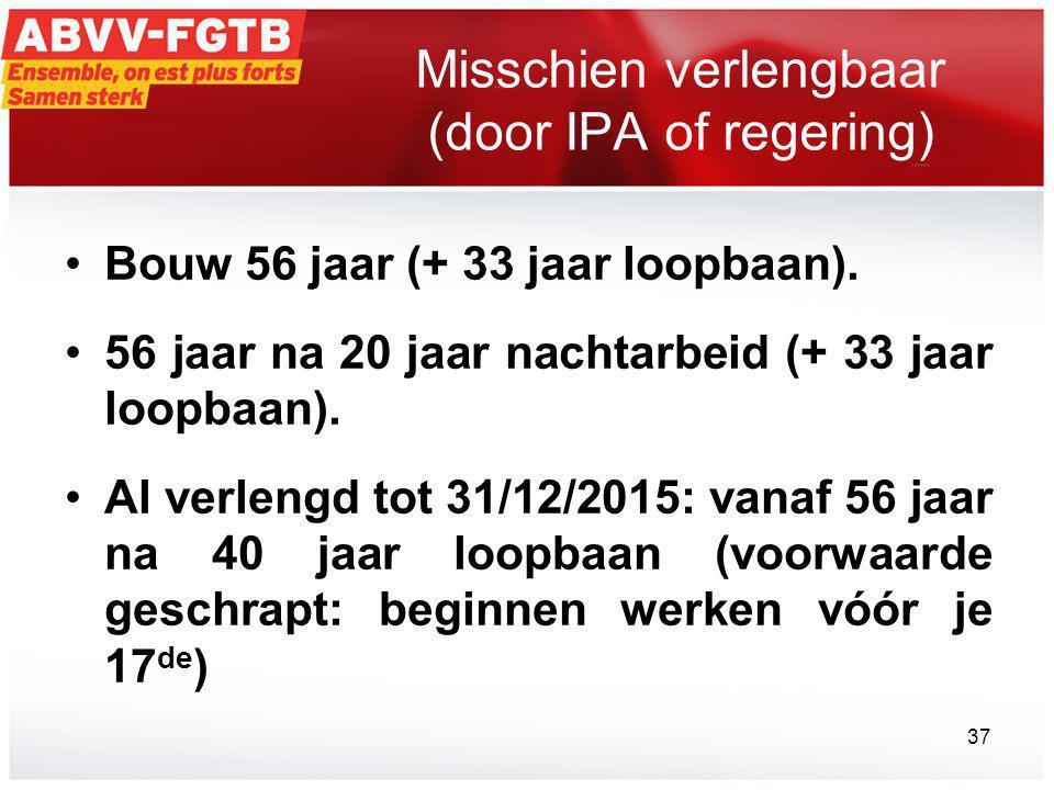 Misschien verlengbaar (door IPA of regering) •Bouw 56 jaar (+ 33 jaar loopbaan).