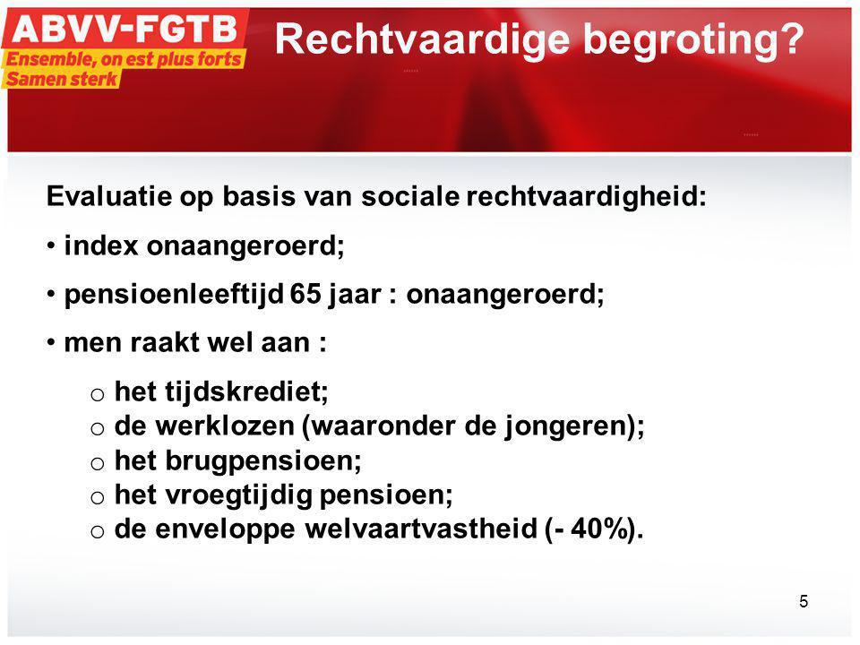 Evaluatie op basis van sociale rechtvaardigheid: • index onaangeroerd; • pensioenleeftijd 65 jaar : onaangeroerd; • men raakt wel aan : o het tijdskrediet; o de werklozen (waaronder de jongeren); o het brugpensioen; o het vroegtijdig pensioen; o de enveloppe welvaartvastheid (- 40%).