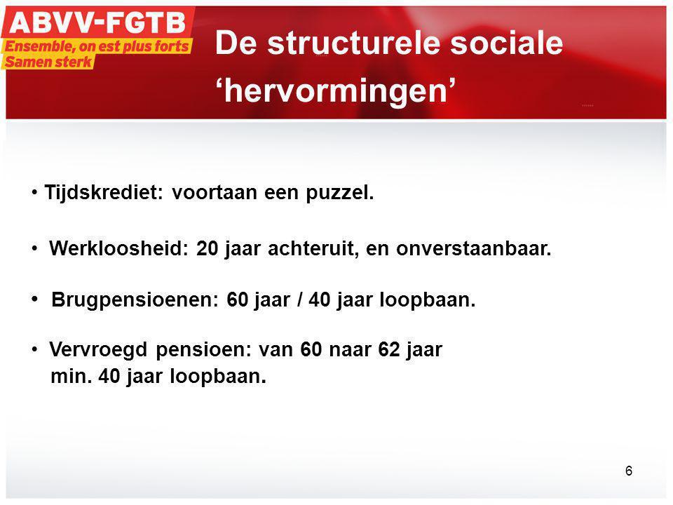 De structurele sociale 'hervormingen' • Tijdskrediet: voortaan een puzzel.