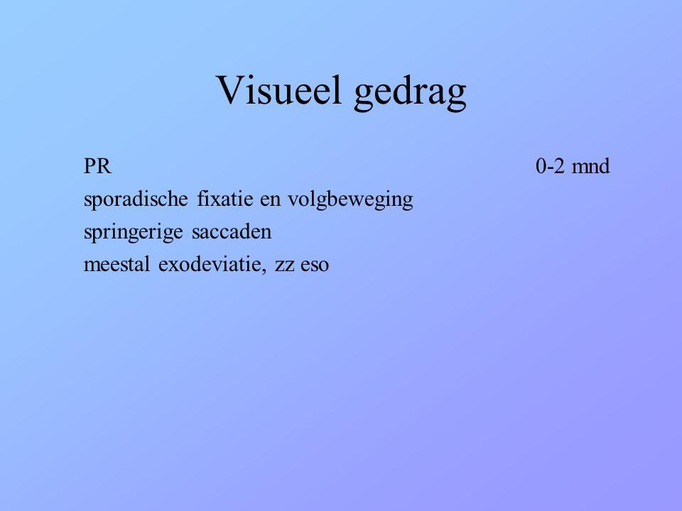 Visueel gedrag PR 0-2 mnd sporadische fixatie en volgbeweging springerige saccaden meestal exodeviatie, zz eso