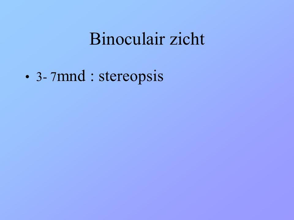 Binoculair zicht •3- 7 mnd : stereopsis