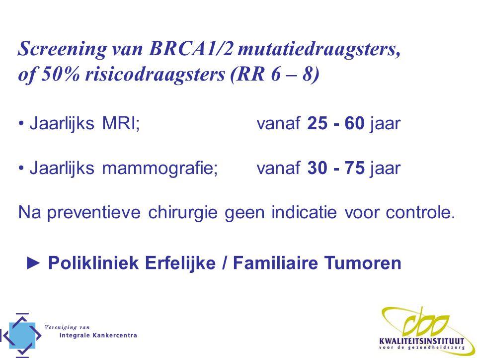Screening van BRCA1/2 mutatiedraagsters, of 50% risicodraagsters (RR 6 – 8) • Jaarlijks MRI; vanaf 25 - 60 jaar • Jaarlijks mammografie; vanaf 30 - 75