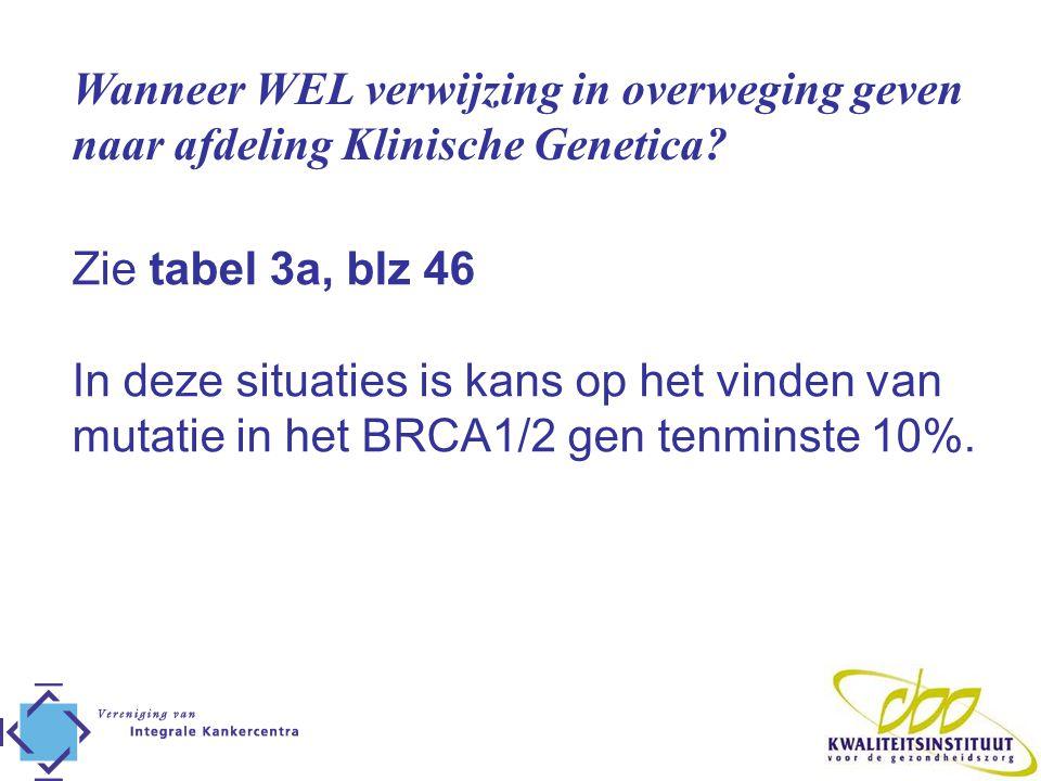 Wanneer WEL verwijzing in overweging geven naar afdeling Klinische Genetica? Zie tabel 3a, blz 46 In deze situaties is kans op het vinden van mutatie