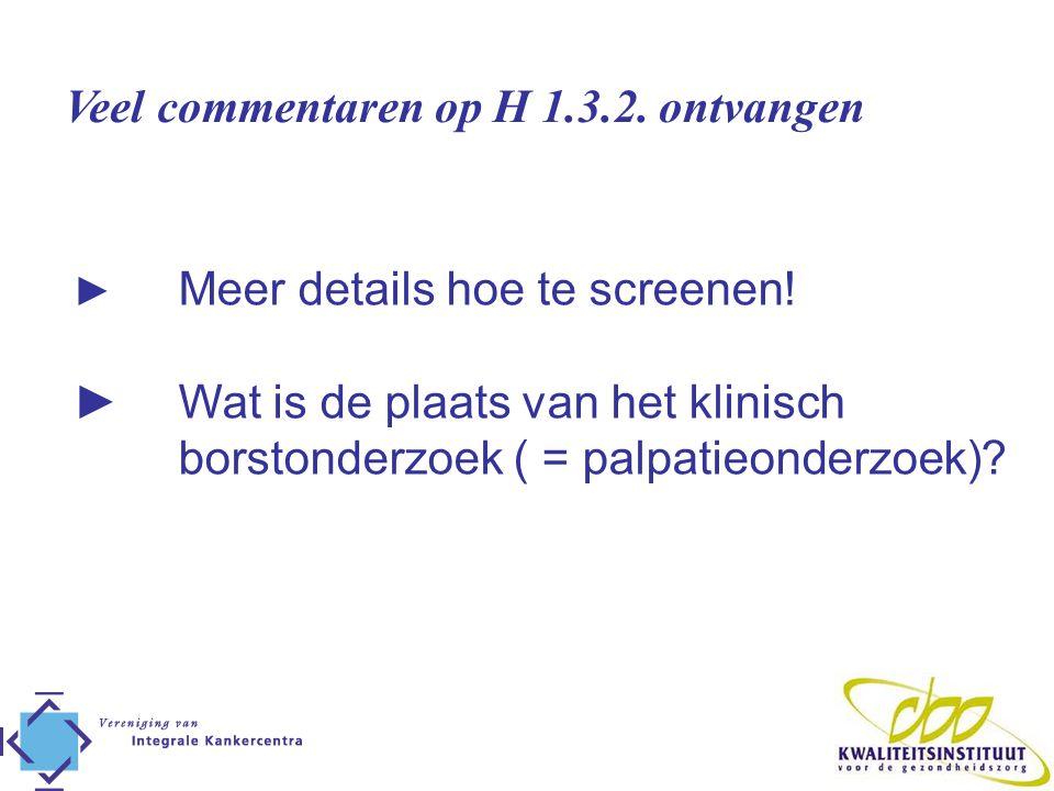 Veel commentaren op H 1.3.2. ontvangen ► Meer details hoe te screenen! ► Wat is de plaats van het klinisch borstonderzoek ( = palpatieonderzoek)?