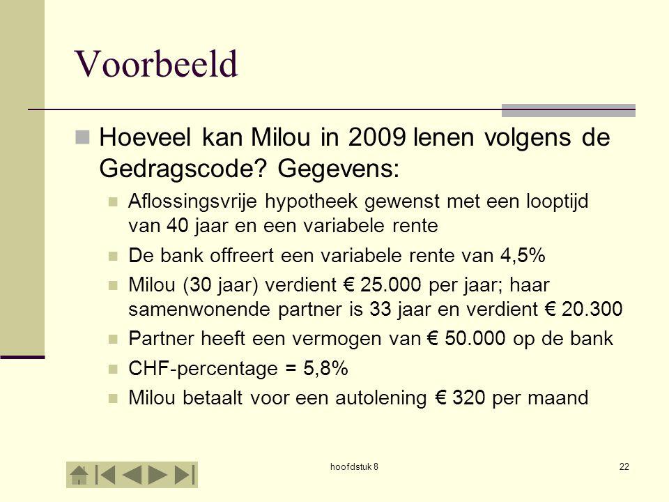 hoofdstuk 822 Voorbeeld  Hoeveel kan Milou in 2009 lenen volgens de Gedragscode.