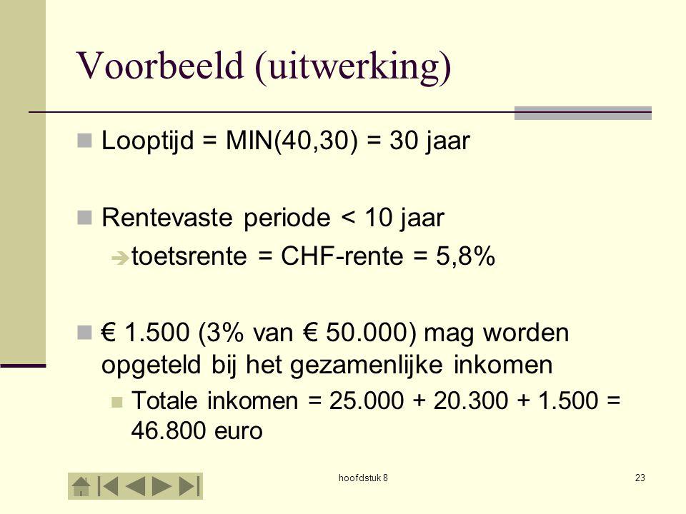 hoofdstuk 823 Voorbeeld (uitwerking)  Looptijd = MIN(40,30) = 30 jaar  Rentevaste periode < 10 jaar  toetsrente = CHF-rente = 5,8%  € 1.500 (3% van € 50.000) mag worden opgeteld bij het gezamenlijke inkomen  Totale inkomen = 25.000 + 20.300 + 1.500 = 46.800 euro