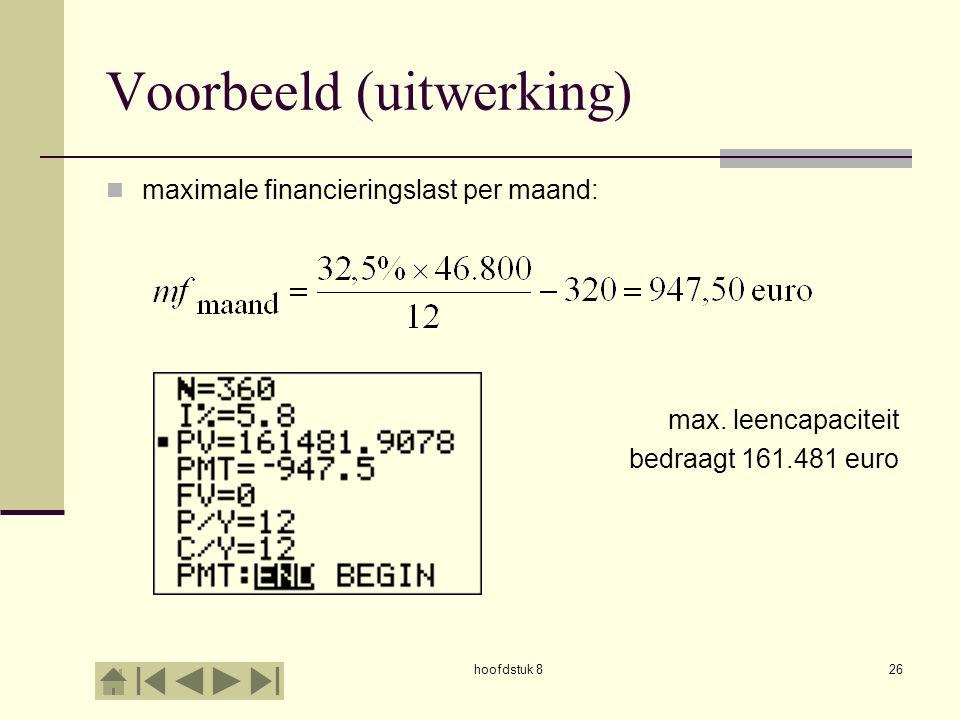 hoofdstuk 826 Voorbeeld (uitwerking)  maximale financieringslast per maand: max.