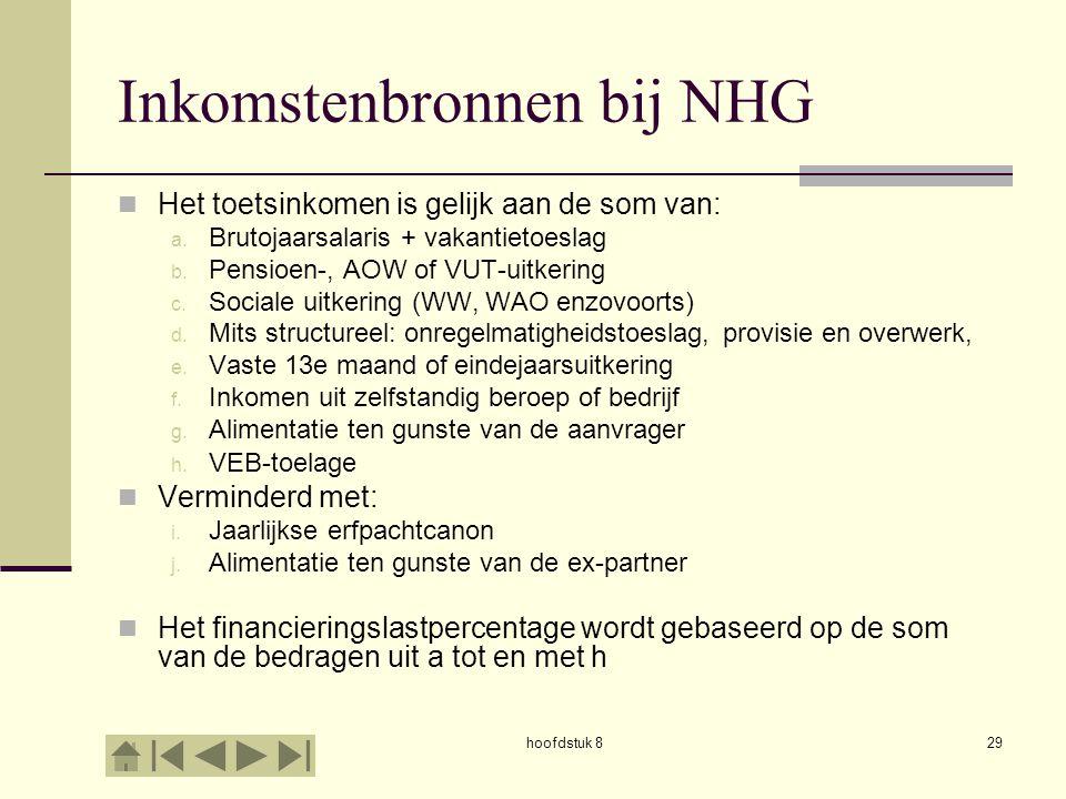 hoofdstuk 829 Inkomstenbronnen bij NHG  Het toetsinkomen is gelijk aan de som van: a.